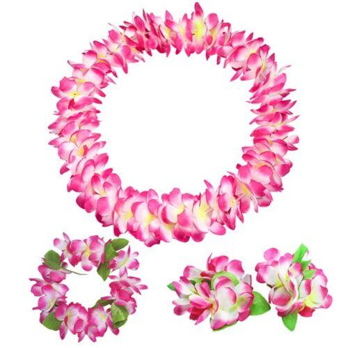 4 Piece Hawaiian Flower Garland Lei Necklace Aloha Hula Hawaii Beach Fancy Dress