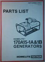 Homelite Generator Parts Manual 4p 170a15-1a & -1b Off Grid Camping Preppers