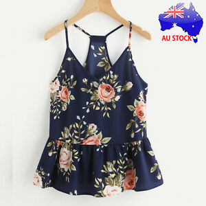 AU-Women-Plus-Floral-Casual-Sleeveless-Crop-Top-Vest-Tank-Shirt-Blouse-Cami-Tops