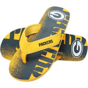 6fc673f0a0dc02 NFL - Green Bay Packers Contour Fade Wordmark Men s Flip Flops NEW ...