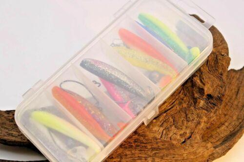 Cheburashka Set mit 10 Gummifischen 7cm und 5 Gewichten sowie 5 Haken /& Wirbel