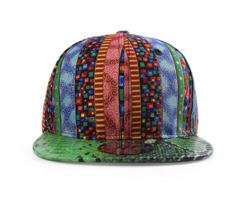Aztec Multi Colour Pattern Snakeskin Style Flat Peak Snapback Baseball Cap