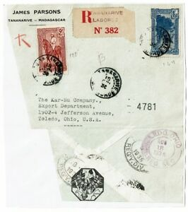 Madagascar-1936-Registered-Airmail-Cover-to-USA-Pasted-to-Album-Page-Lot-101517