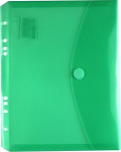 100x Dokumententaschen Umschläge Klettverschluss Abheftrand A4 grün transparent