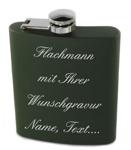 Flachmann 200ml mit Gravur Wunschtext  Grafik Logo 6 Farben zu Auswahl !!03