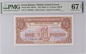Great Britain 1 POUND 1956 P M29 SUPERB GEM UNC PMG 67 EPQ