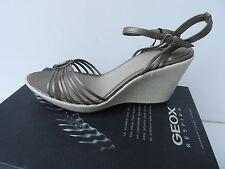 Geox Sandales Alena Chaussures Femme 41 Escarpins Espadrilles Straps Wedge UK8