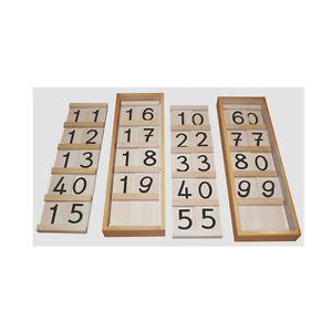 Montessori: Grand Seguintafeln 10-19 et 10-99 dans le set avec couvercle à 2 boîtes