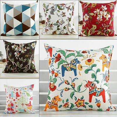 "18""*18"" Car Bed Home Decor Floral Plaid Cushion Cover Throw Pillow Case Cover"