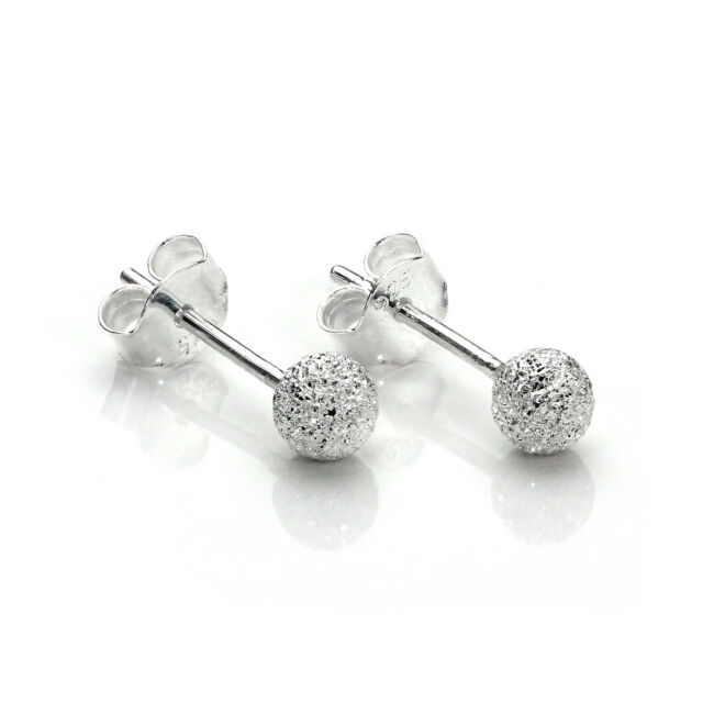 d90daef1e 925 Sterling Silver 4mm Frosted Xmas Ball Stud Earrings / Studs for ...