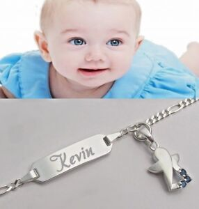 Mode-Design außergewöhnliche Farbpalette wähle das Neueste Details zu Engel Baby Armkette Armband mit Wunsch Gravur Name Geburt Echt  silber Taufe neu