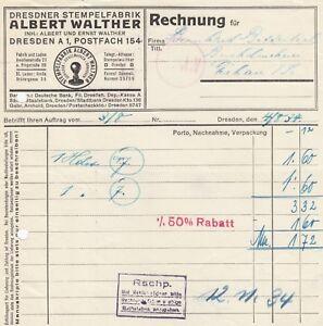 Stempel Walther Dresden dresden rechnung 1934 albert walther stempel fabrik ebay