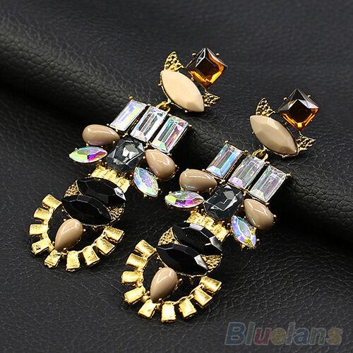 Womens Sexy Crystal Noble Elegant Alloy Ear Studs Dangle Linear Earrings Jewelry