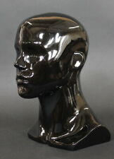 135 In H Male Head Mannequin Bust Form Display Mannequin Glossy Black Mh8 Hb