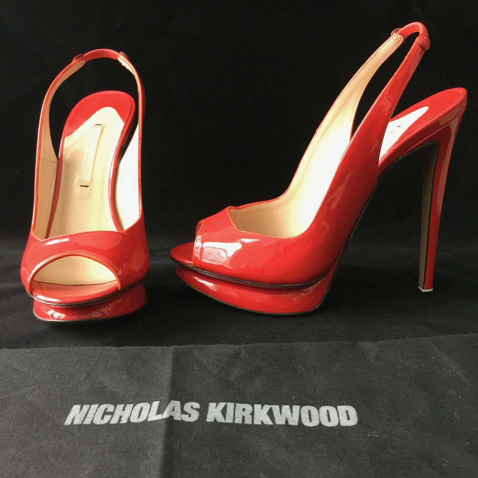 NEW NICHOLAS KIRKWOOD LIPSTICK rot PATENT SLINGBACK PLATFORM HEELS PUMPS 36.5