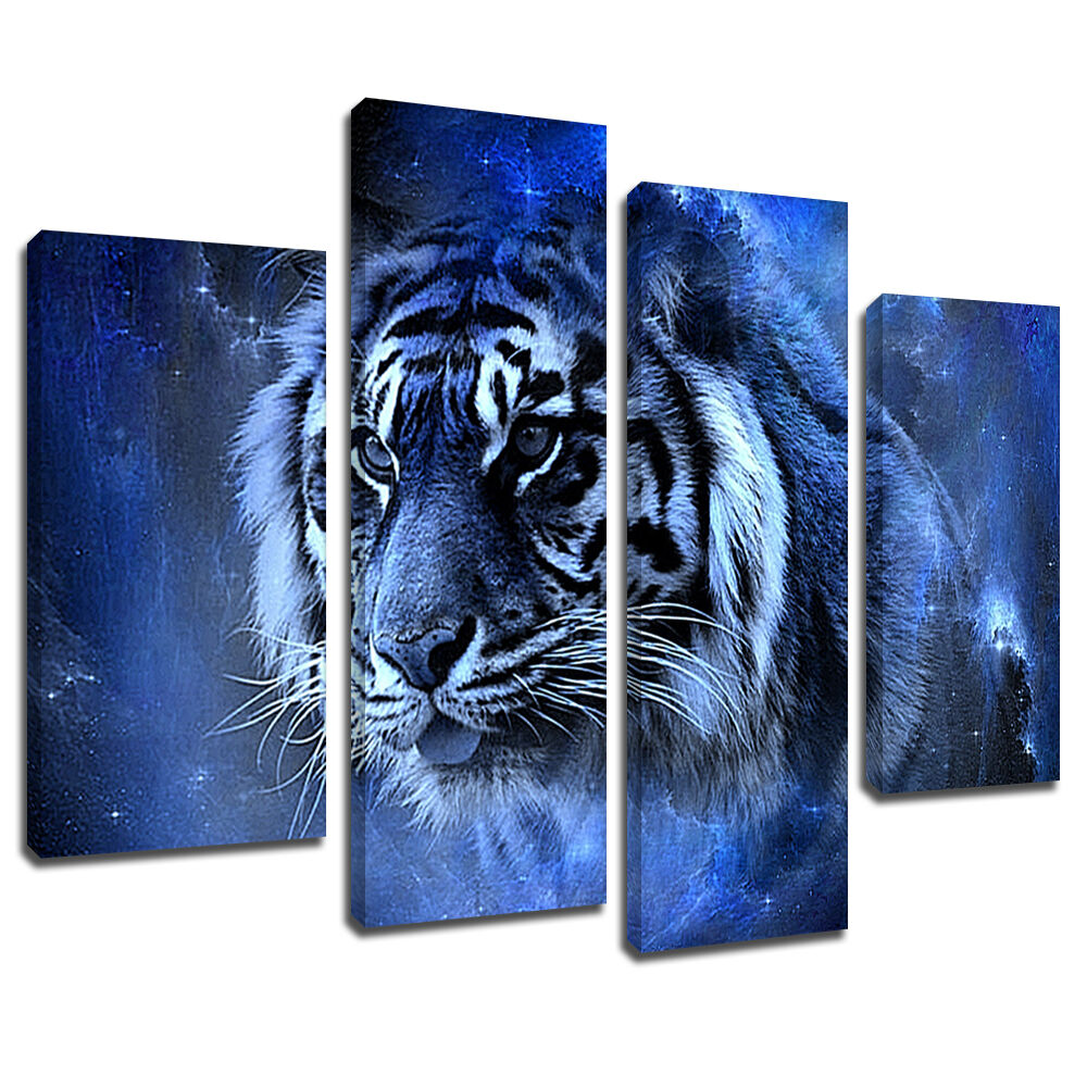 MA454 Blau Star Space Bengal Tiger Canvas Wand Kunst Multi Frame Bild Drucken