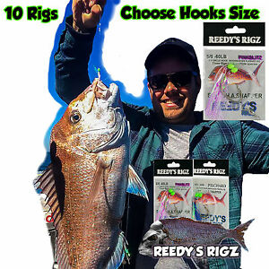 10-Snapper-Rigs-Fishing-Rig-tied-Paternoster-Flasher-Lure-Tackle-Combo-Hook-FLy