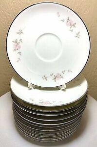 12-Vintage-Noritake-Bellemead-Saucer-Plate-6314-White-Rose-Platinum-6-Set-MINT