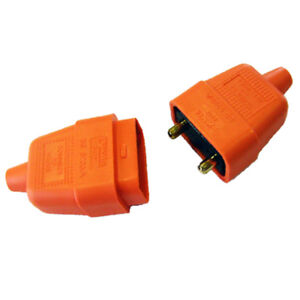 Lyvia-2-Pin-Rubberized-Orange-In-Line-Connector-250V-10-Amp-FREE-SHIPPING