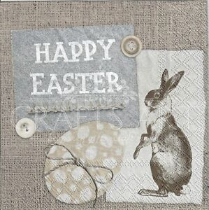 4 x Single Paper Napkins for Decoupage Crafting Table Vintage Happy Easter 13