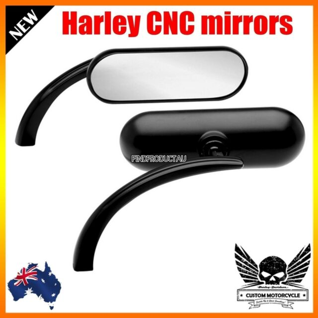 Black Billet Mini Oval Motorcycle Mirrors Harley Dyna Softail Sportster Touring