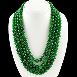 800-50-CTS-EARTH-MINED-RICH-GREEN-EMERALD-4-LINE-ROUND-SHAPED-BEADS-NECKLACE