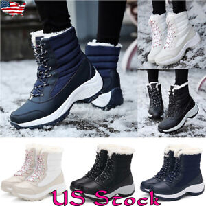 Women-Winter-Warm-Fur-Lined-Waterproof-Chunk-Heel-High-Ankle-Snow-Boots-Shoes