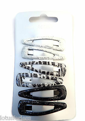 ZEBRA STRIPE MIX HAIR SNAP CLIPS BENDIES SLIDES PACK OF 6 BLACK /& WHITE GLITTER