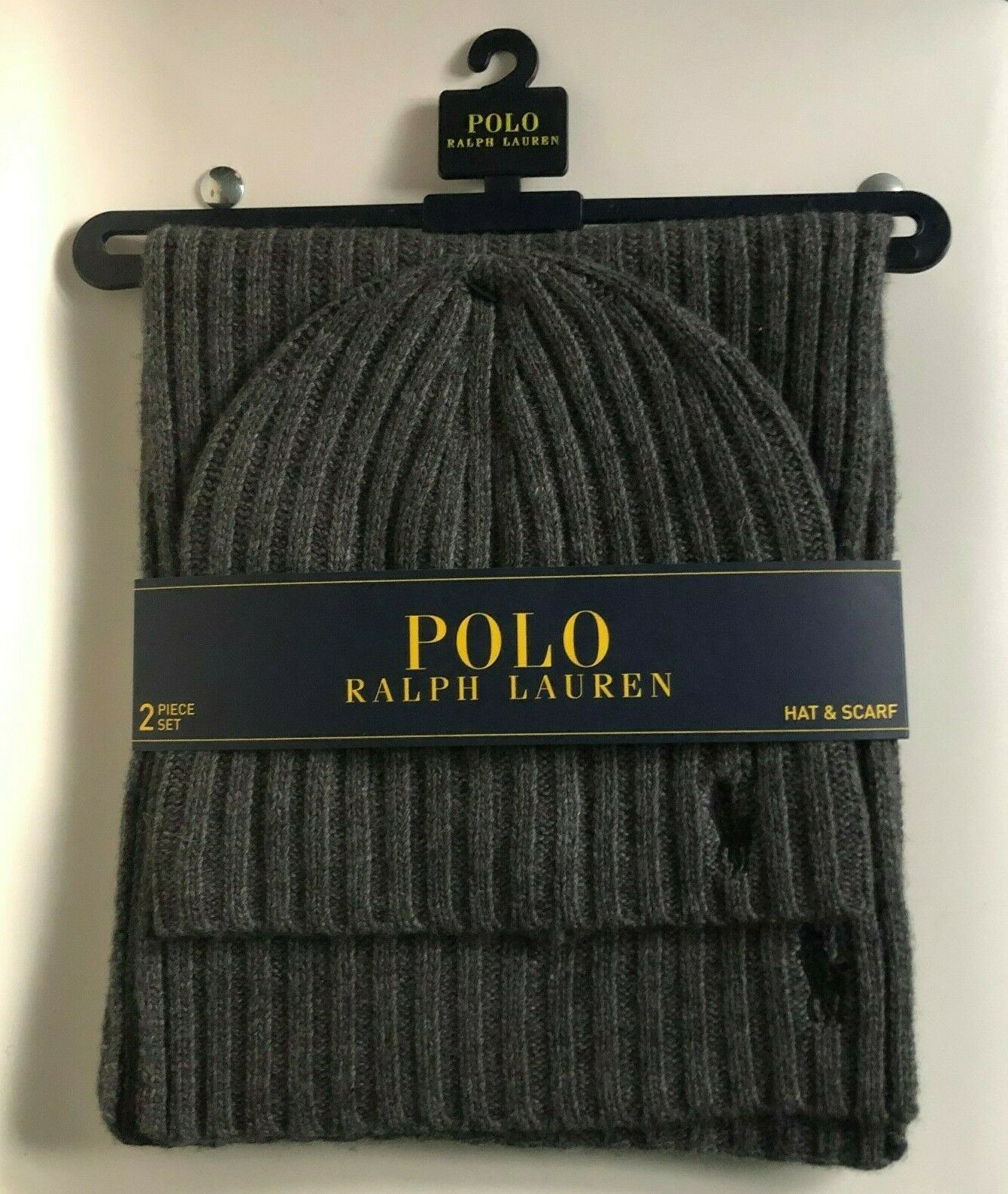 Men's Polo Ralph Lauren Ribbed Knit Charcoal Grey Beanie & Scarf Set - NEW