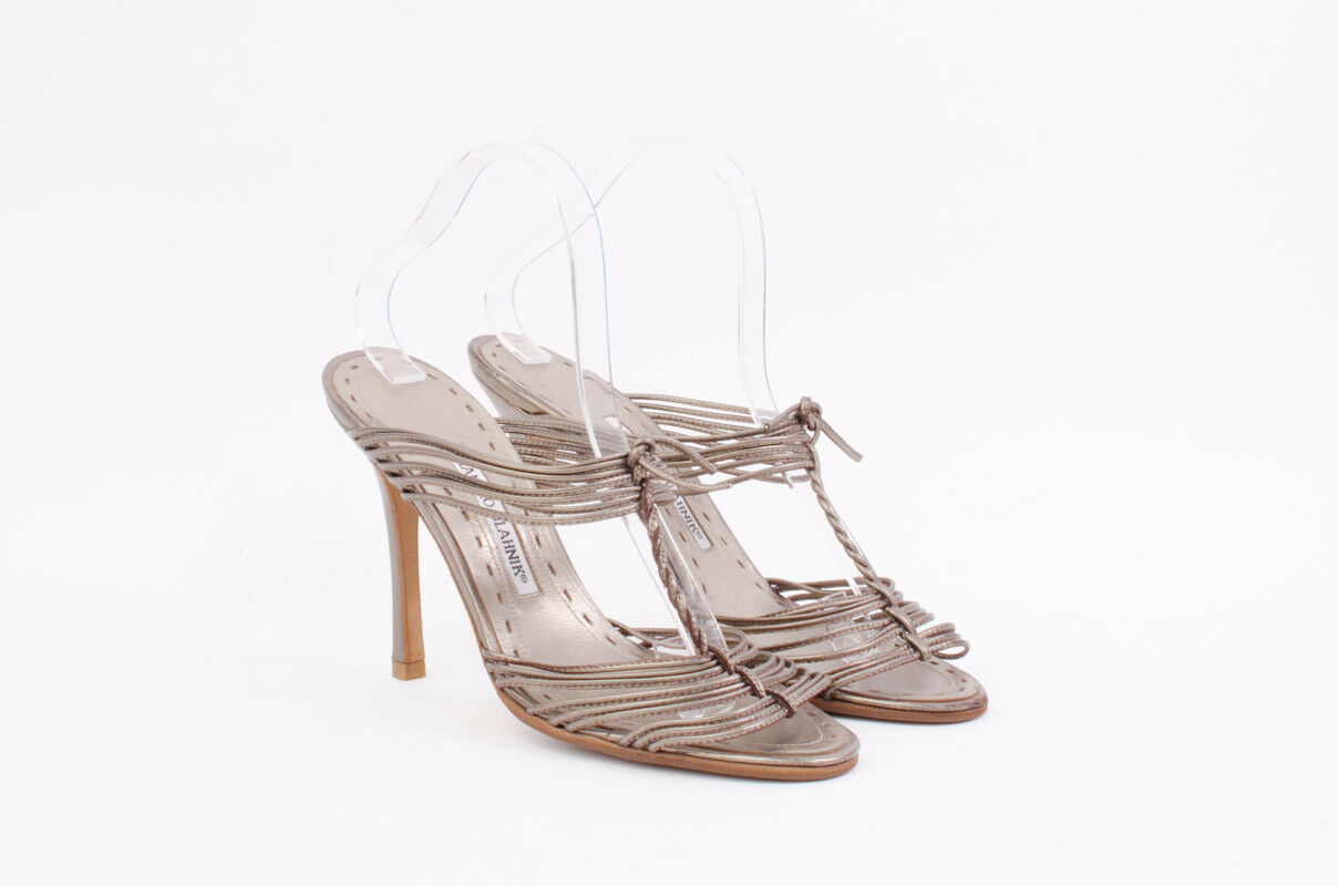 MANOLO Leder BLAHNIK Silver Copper Metallic Leder MANOLO Strappy Heeled Mules Sandale 10/40 6ba5ea