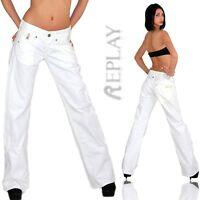 REPLAY Damen Jeans Hose Bootcut Schlag Schlaghose Baggy Weiß 8670