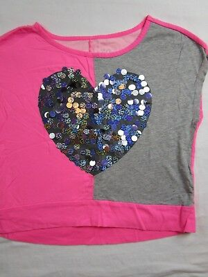 f95f3569d7e2b Girl 10 Pink Grey Sequin heart cropped top shirt JUSTICE Fall BACK TO SCHOOL