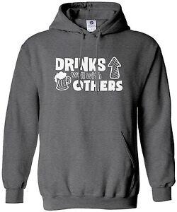 Threadrock Men/'s Drinks Well with Others Hoodie Sweatshirt Funny Beer
