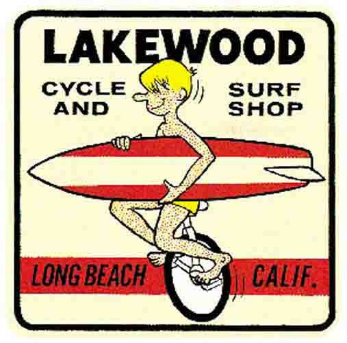 George/'s Surf Center    California  Vintage Looking  60/'s Surfing Decal Sticker