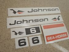 Johnson Sea Horse Outboard Motor Decal Kit 6 HP FREE SHIP + FREE Fish Decal!