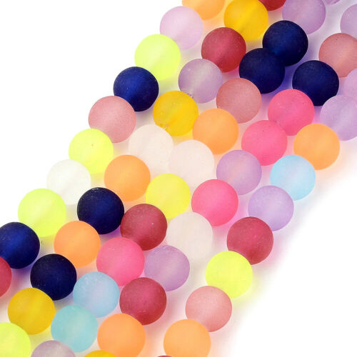 20 Strds Random Frosted Glass Beads Round Smooth Matte Colorful Loose Beads 8mm