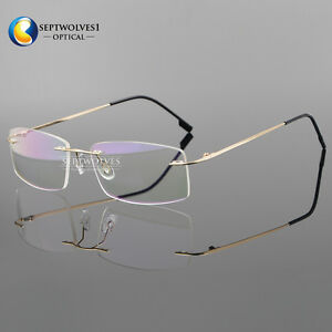 7cb6a1df12 Image is loading Men-039-s-Rimless-Memory-Titanium-Myopia-Eyeglasses-