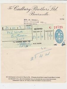 to Cadbury Brothers Ltd Bournville 1955 From M.Ware 2p Stamp Receipt Ref 35380