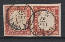 FRANCOBOLLI 1857 SARDEGNA COPPIA C.40 ROSSO SCARLATTO Z/4117