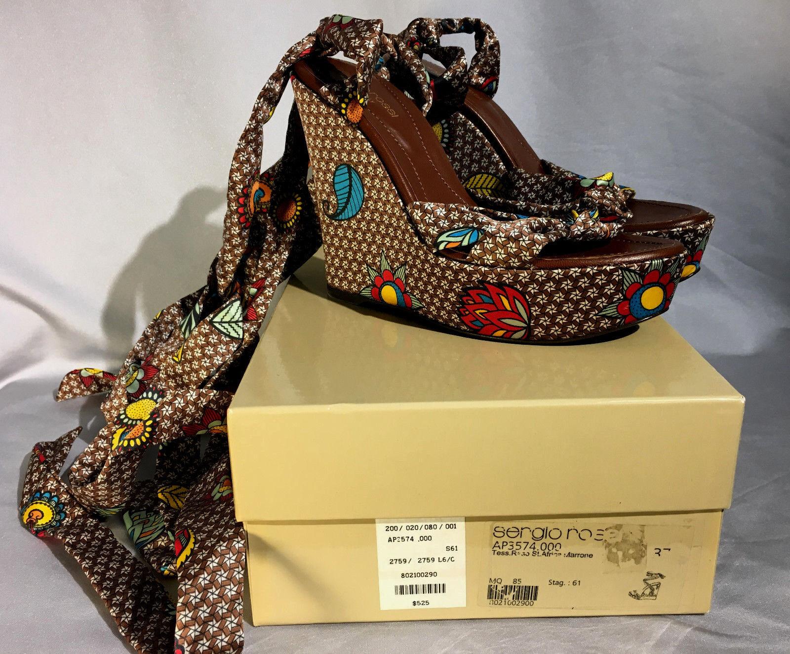 Sergio Rossi fabrics Platform Wedges St.Africa marron marron marron  EU 37 US 7 adfd9a