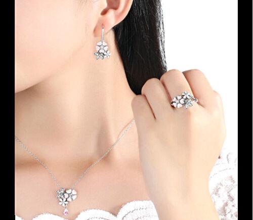 Zauberhaftes 925er Silber Collier Kette Halskette Damenkette Zirkonia Blüten NEU
