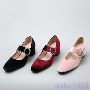 Elegent-Women-velvet-Suede-Block-Low-Heels-Buckle-Mary-Jane-Pumps-Shoes-Pink-New