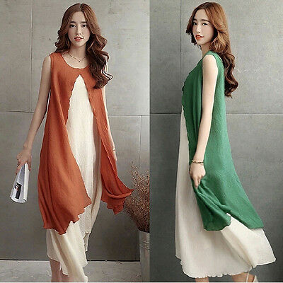 New Women Casual Cotton Linen Boho Summer Loose Sundress A-line Shirt Tank Dress