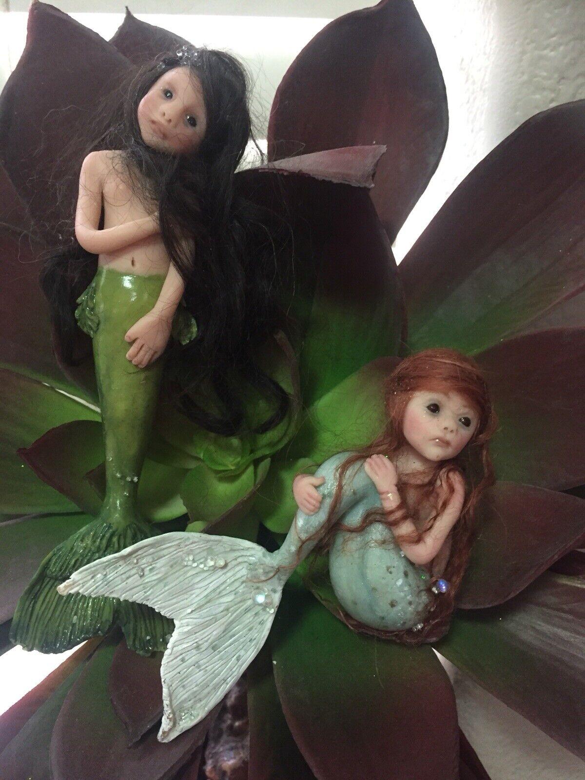 OOAK mano esculpida arcilla Sirena hermanas figurillas en miniatura muñeca