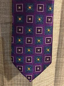 Mens-HICKEY-FREEMAN-100-Silk-Purple-Geometric-Square-Design-Neck-Tie