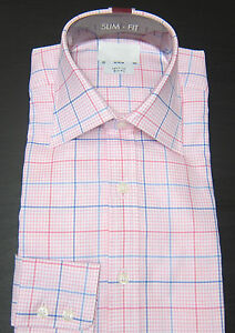 T-M-LEWIN-SLIM-FIT-PINK-CHECK-SHIRT-PURE-COTTON-COLLAR-14-5-19-BNWOT