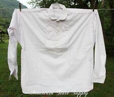 Large US Civil War Reenactors Officers Pleated White Cotton Long Sleeve Shirt L