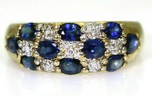 Quality-Sapphire-amp-Diamond-9ct-Yellow-Gold-Band-ring-size-M-6-1-4