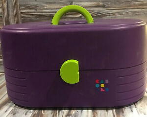 Vtg-Caboodles-Train-Carrying-Case-Purple-Green-Purple-Used-Make-Up-Jewelry