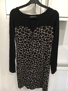 DAMNED-DELUX-SIZE-14-BLACK-BROWN-ANIMAL-PRINT-STRETCH-BODY-CON-DRESS